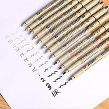 1 pçs pigmento pigma micron caneta marcador de tinta 0.05 0.1 0.2 0.3 0.4 0.5 0.6 0.8 ponta diferente preto fineliner esboçar arte marcador