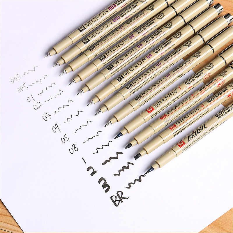 1pcs Pigmento Pigma Micron Marcatore Penna Inchiostro 0.05 0.1 0.2 0.3 0.4 0.5 0.6 0.8 Punta Differente Nero Fineliner schizzo Art Marker