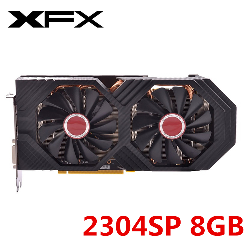 Original XFX RX 580 8GB Video Card AMD Radeon RX580 8GB Graphics Screen Cards 2304SP GPU Desktop  PUBG Video Game Map Not Mining