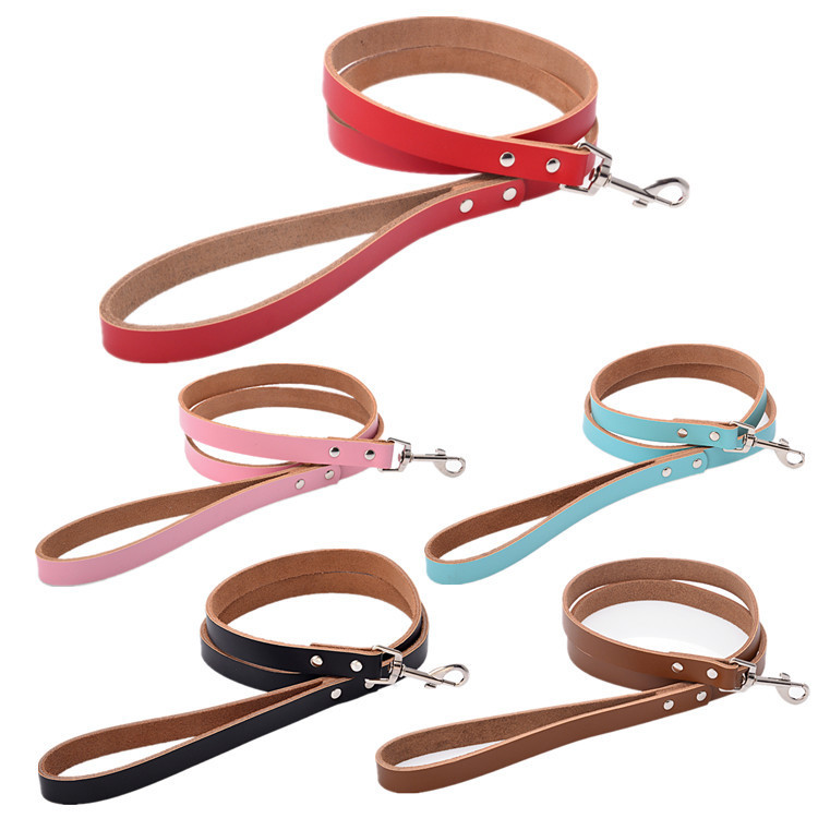 Dog Collar Hand Holding Rope Pure Leather Pet Traction Rope Genuine Leather Dog Chain Dog Traction