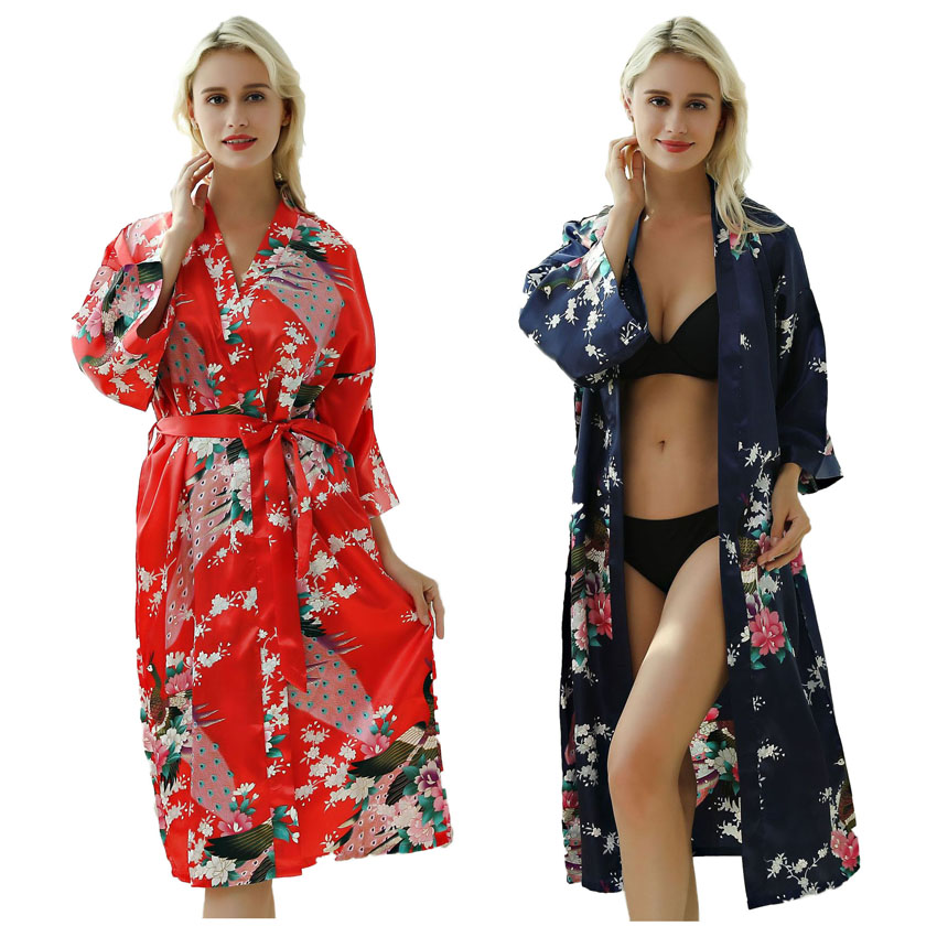 Lady Sexy Costumes Japanese Kimono Yukata Dress with Belt Satin Silk Cardigan Pajamas Sleepwear Woman Smooth Bathing Robe Gown