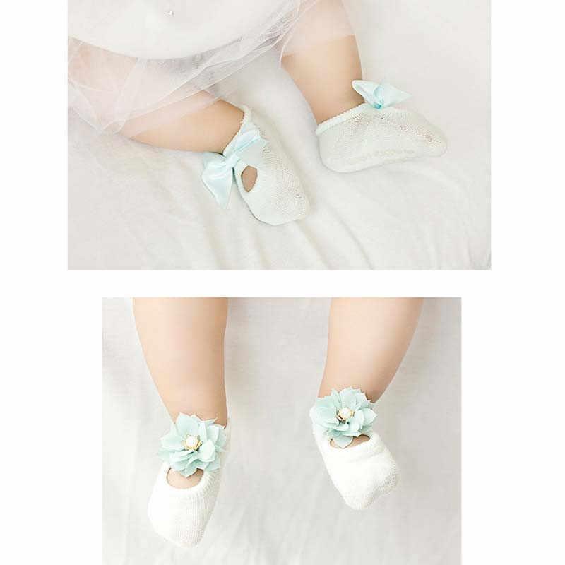 Peúgas de algodão macio do bebê para a menina bebe criança infantil anti deslizamento laço flor laço laço chão meias festa aniversário meia 3 pares/pacote