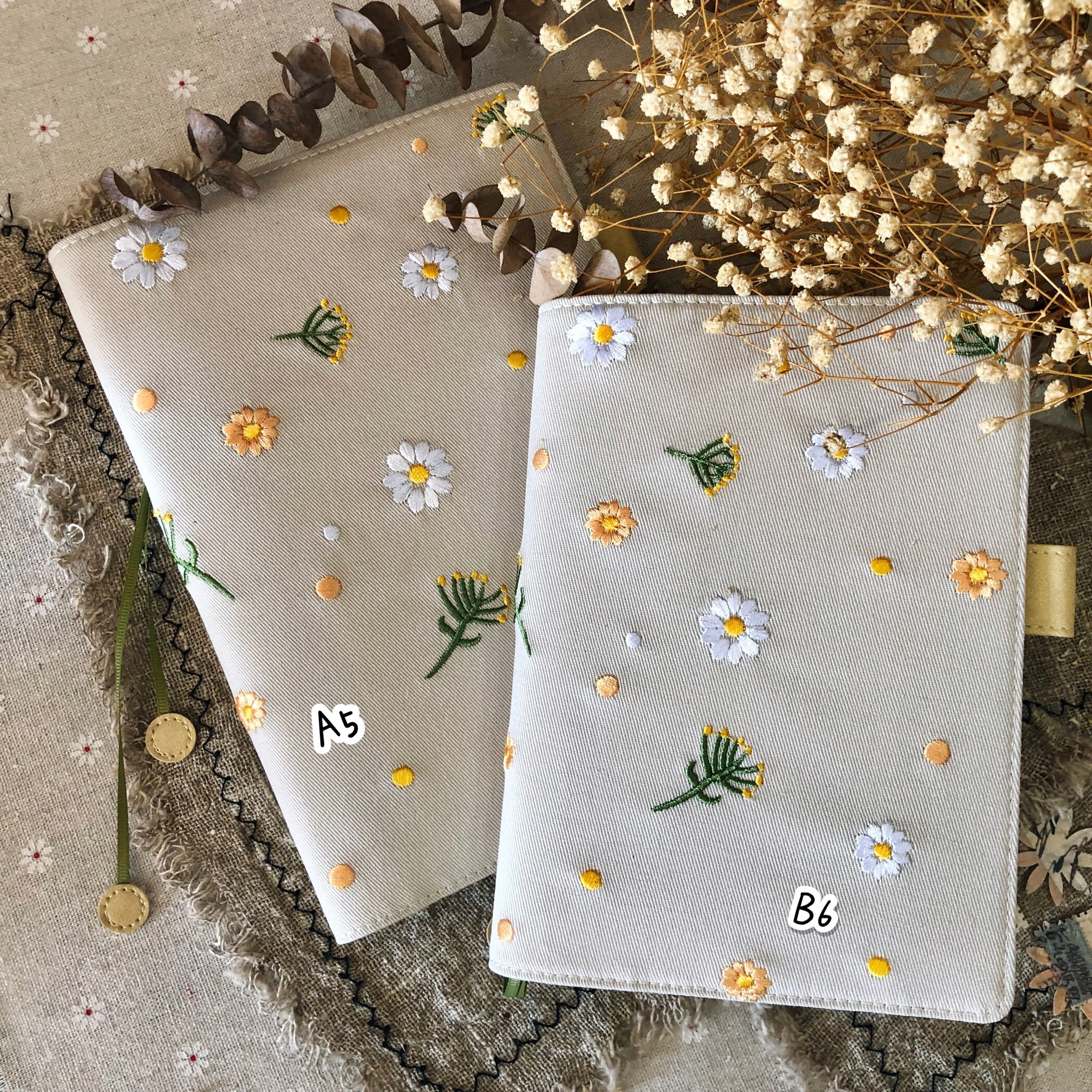 The Sunny Flowers Cute Floral Cloth Journal Cover Suit For Standard A5 A6 Fitted Paper Book