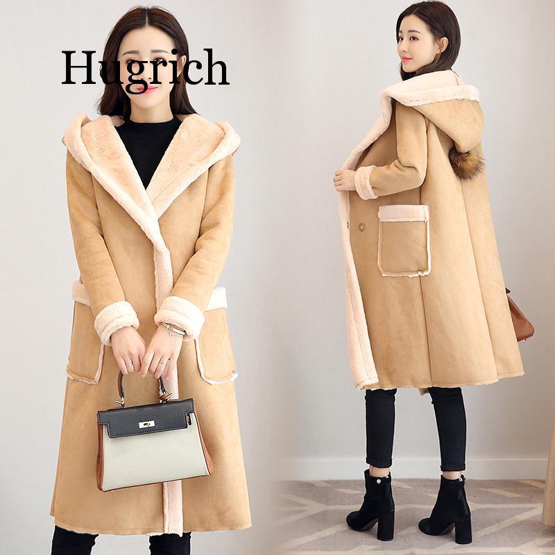 2020 Ladies Faux Suede Fleece Coats For Women Winter Thermal Hooded Faux Long Sleeve Fake Sheepskin Parkas Long Style Outwear