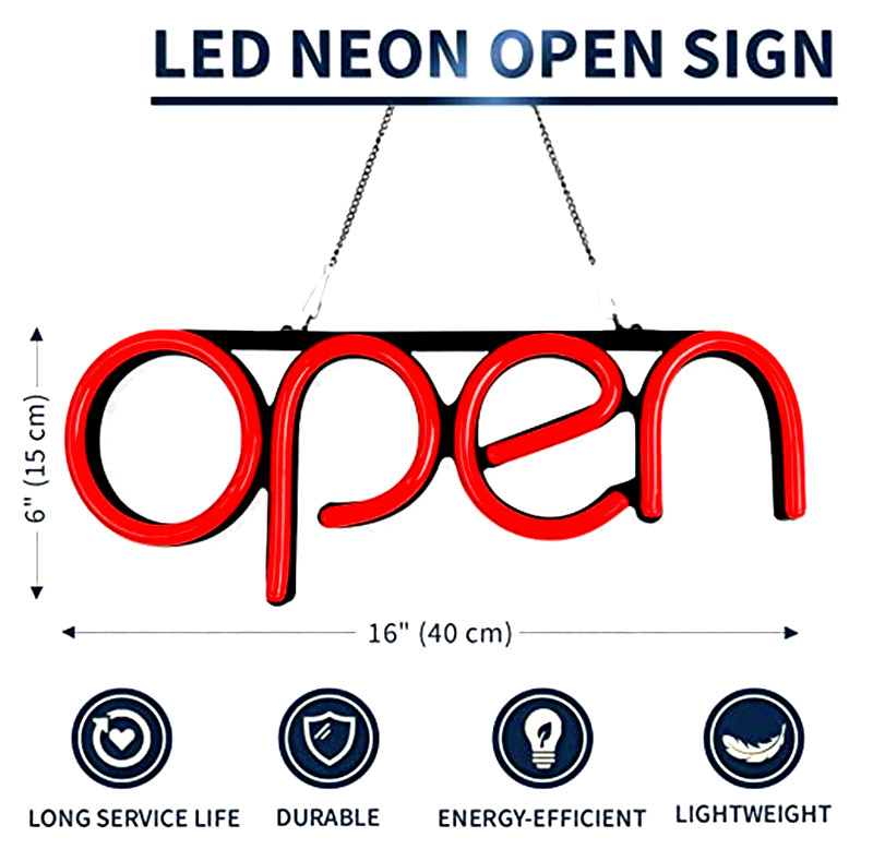 LED Neon Open Sign Light for Business with ON & Off Switch Letter Window Displaying Lightfor Bar,Restaurant,Store,Salon image