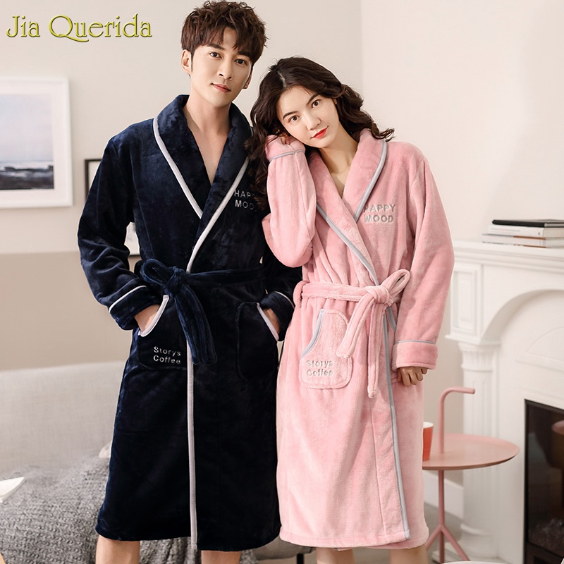 Couple Kimono Winter Warm Bath Robes Men And Women Matching Long Sleeve Plush Bathrobe Thick Letter Embroidery Flannel Warm Robe