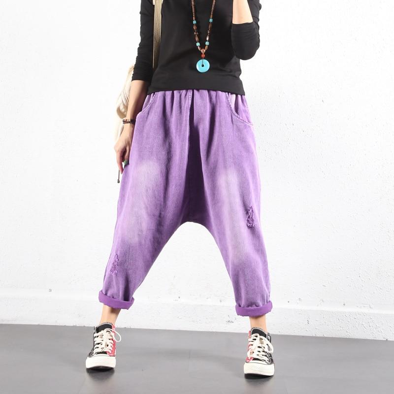 BF Style Drop crotch Harem Denim pants Baggy Candy colors   Jeans   hip hop cowboy Bloomers Joggers Elastic waist cowboy Trousers