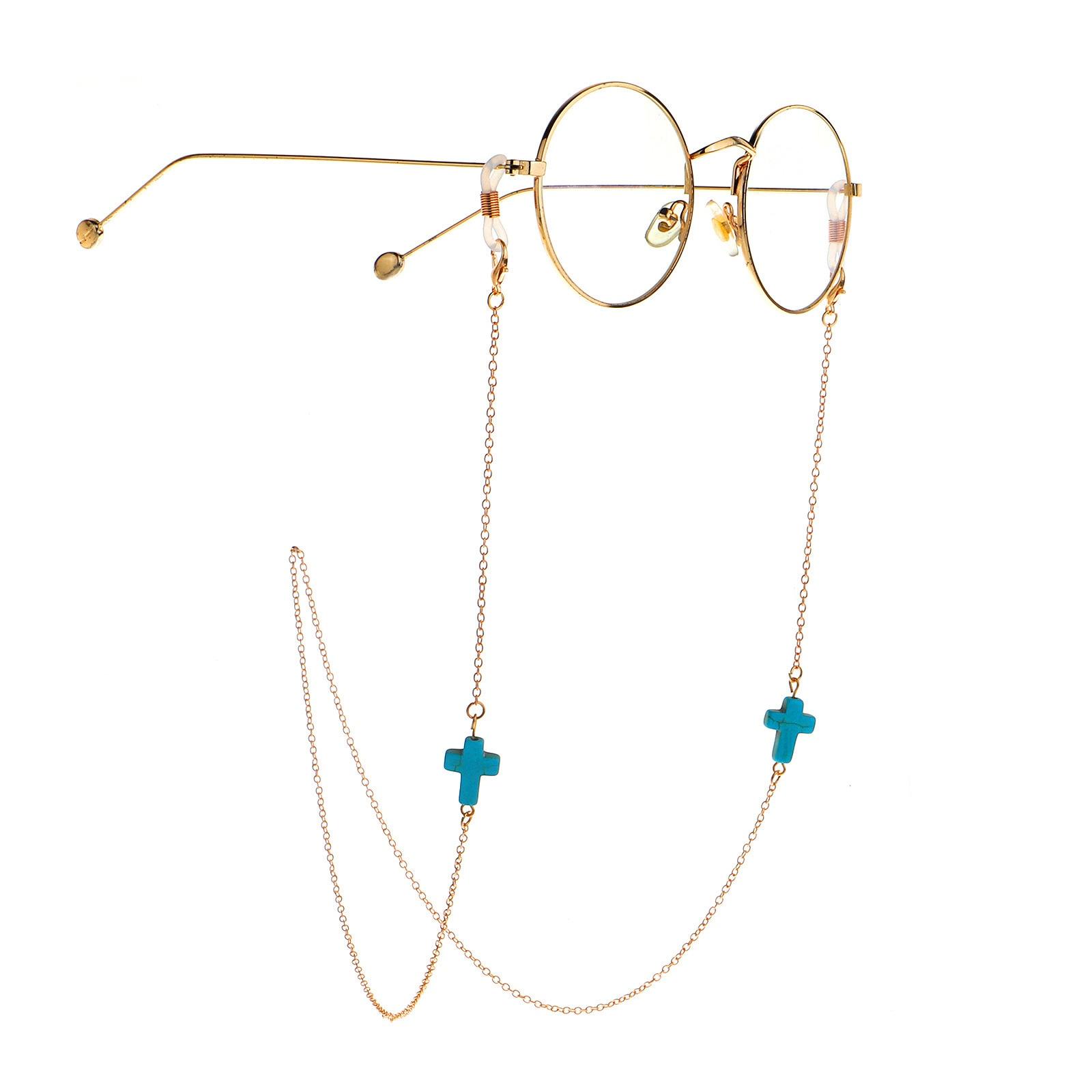 Green Color Natural Stone Sunglasses Chain For Women Men Heart Skull Cross Eyeglasses Reading Glasses Chain Cord Holder