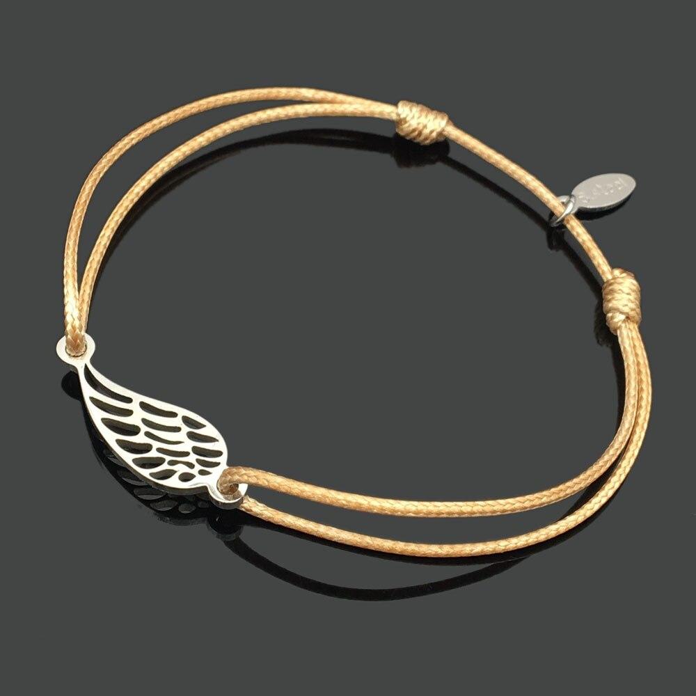 2 шт браслет желаний из нержавеющей стали, регулируемый шнур, хороший браслет, приносящий удачу, красный браслет дружбы - Окраска металла: stainless feather