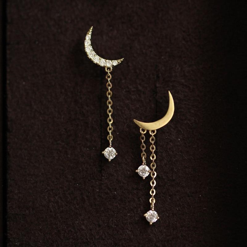 925 Sterling Silver 14k Gold Plating Bohemian Classic Moon Crystal Tassel Earrings Women Simple Wedding Jewelry Accessories