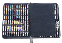 Real Leather Fountain Pen / Rollerball Pen Case Cowhide Black Pen Holder Pencil Bag for 46 Pens, Fit In Various Size Office Gift