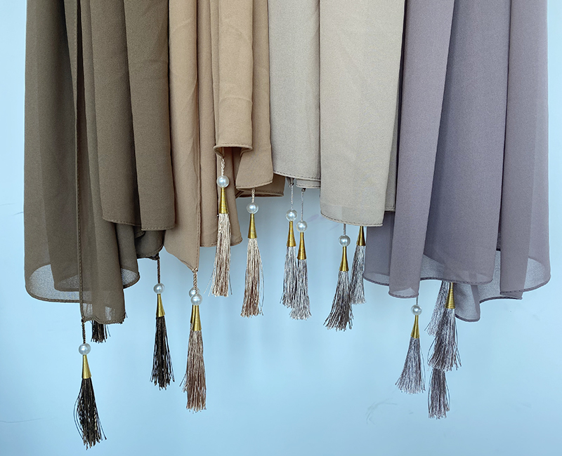 Designer Bubble Chiffon Solider Color Scarf Long Soft Wrap Scarf Shawl Scarves Femme Bufandas Beaded Pearls