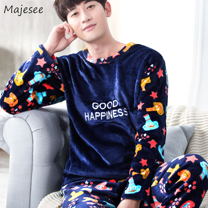 Pajama Sets Men O-neck Winter Flannel Pajamas Long Sleeve Thicker Mens Printed Home Clothes High Quality Males Plus Size Casual