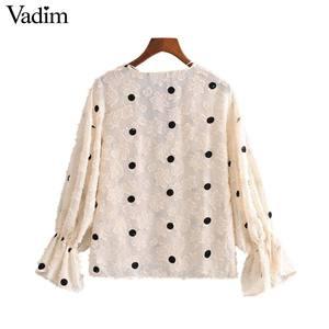 Image 2 - Vadim kadınlar tatlı polka dot bluz V boyun flare kollu see through gömlek kadın sevimli rahat şık üstleri blusas LB612