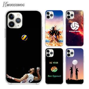 Transparent Clear TPU Cover keep calm love volleyball for iPhone 11 11Pro XS MAX XR X 8 7 6S 6 Plus 5S Phone Case(China)