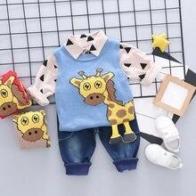 New Autumn Sale Baby Cute Boy Long Sleeve Geometric Print T-