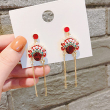 ornament drill red pearl drop jewelry women earrings chinese  korean indian luxury fashion