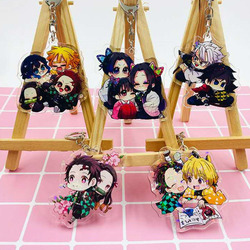 Kamado Tanjirou Kamado-Nezuko Tomioka Giyuu Acrylic Key Chain PVC Hanging Pendant Keychain Demon Slayer Kimetsu No Yaiba Gifts