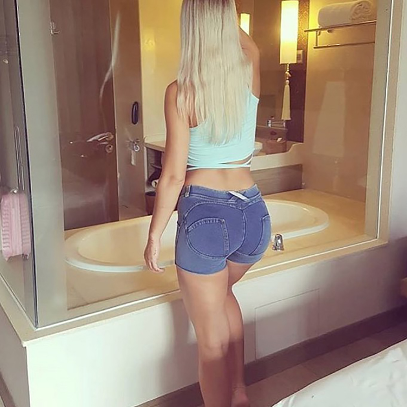 Four Ways Stretchable Summer Women Denim Shorts High Waist Buttons Solid Color Hot Shorts Plus Size Ladies Casual Slim Shorts