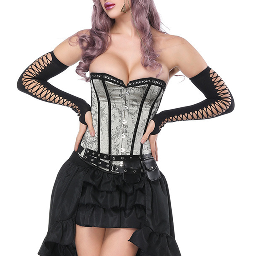 Women's Halloween Party Masquerade Brocade Lace up Gothic Corset Skirt Set