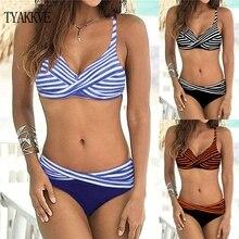 TYAKKVE 2019 Sexy Striped Bikini Set Women Swimwear Push Up Padded Swimsuit Vintage Halter Bathing Suit Beachwear Plus Size XXXL