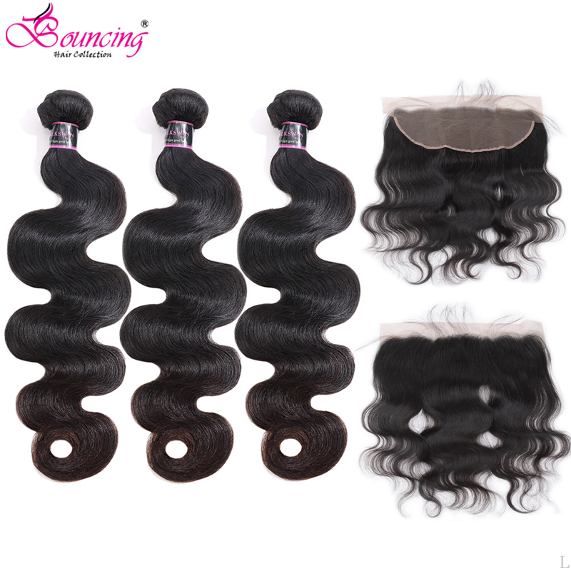 Bouncing Body Wave 3Bundles With 13X4 Lace Frontal Brazilian Remy Human Hair Weft With Frontal Brazilian Remy Hair Natural Black