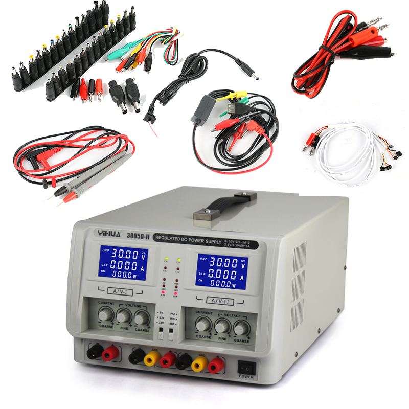 3005D-II YIHUA Dual Channel Triple Adjustable Laboratory Lab Switching Digital Linear DC <font><b>Power</b></font> <font><b>Supply</b></font> <font><b>30V</b></font> <font><b>5A</b></font> 3A + DC JACK image