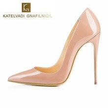 מותג נעלי אישה עקבים גבוהים גבירותיי נעלי 10CM עקבים משאבות נשים נעלי עקבים גבוהים סקסי שחור בז נעלי חתונה פגיון B 0043