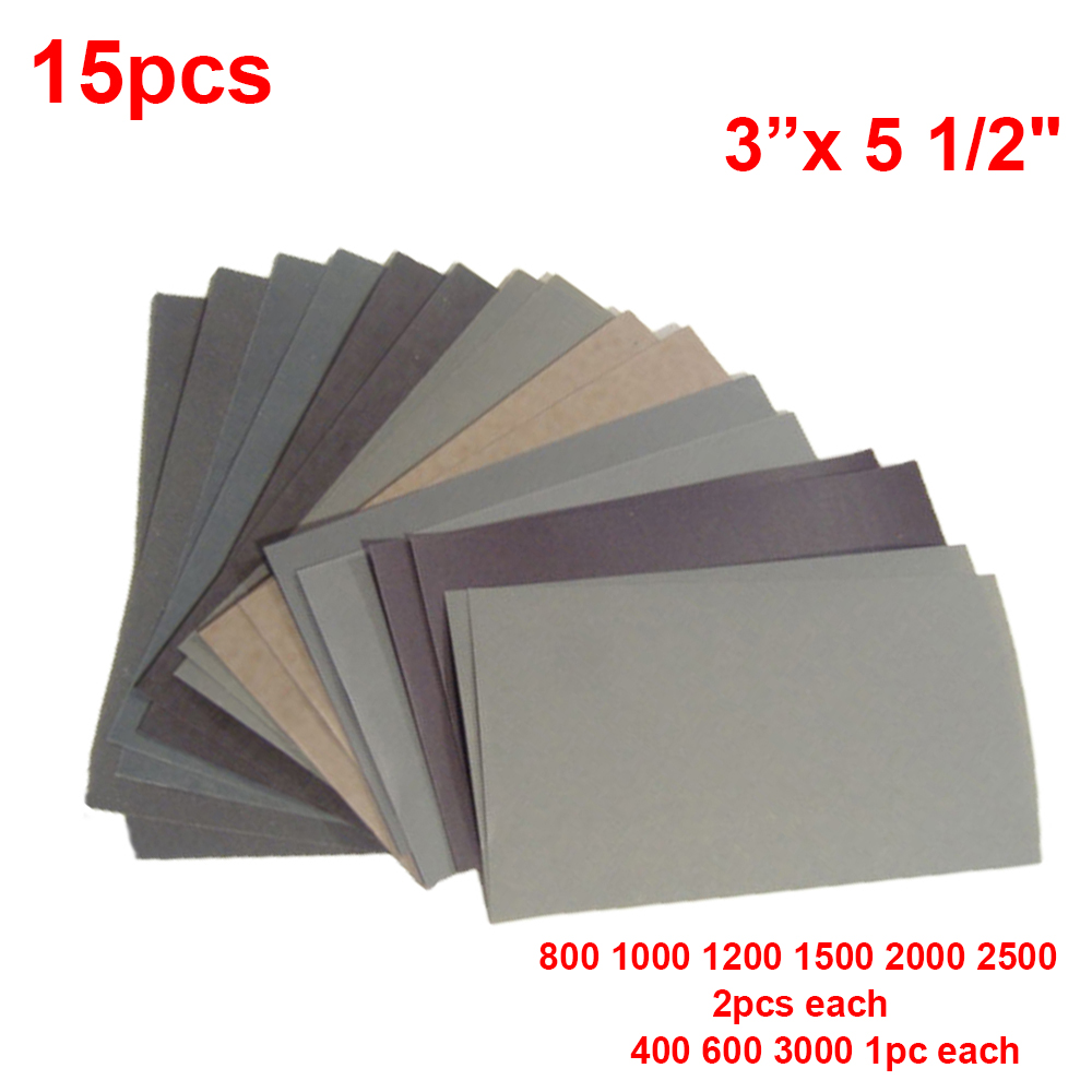 15pcs Sandpaper Set 400 600 3000 800 1000 1200 1500 2000 2500 Grit Sanding Paper Water/Dry Abrasive SandPapers