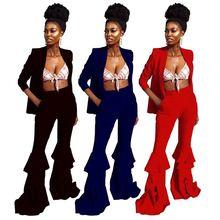 New style personality ruffle hem trouser solid blazer Fashion Woman Clothing women Two Piece  Set chiffon contrast ruffle hem tee