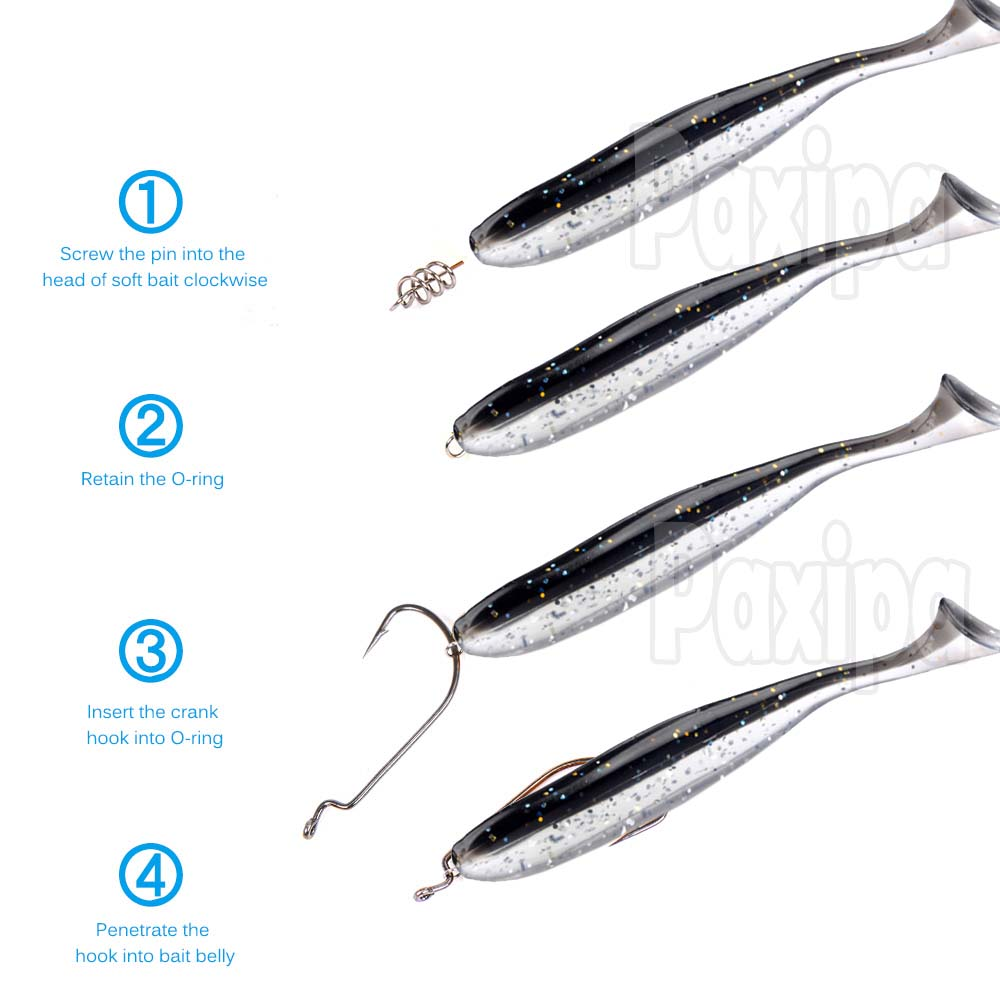 50pcs Wide Gap Worm Hooks Jig Fishing Crank Hooks Bass Hook For Soft Bait JI