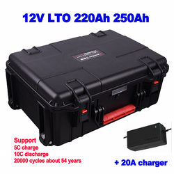 Trolley case Waterproof 12V 220ah 250ah LTO lithium titanate battery pack for photovoltaic system power boat motor + 20A charger