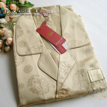 Men's Sleepwear 100% Pure Print Silk Charmeuse Pajamas Set  Size L XL XXL