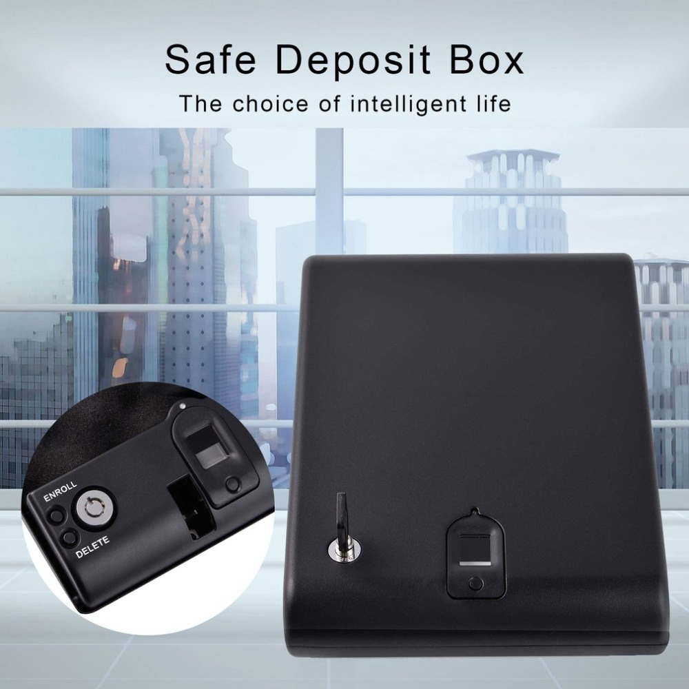 Biometric Fingerprint Safe Box Solid Steel Security Gun Key Valuables Jewelry Box Protable Security Biometric Fingerprint Box