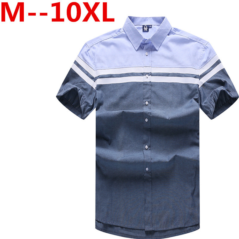 Big  Men  9XL 8XL 7XL Short Sleeve Shirts Striped Fashion Brand Turn-down Collar Slim Fit Breathable Men Casual Shirt Blue Color
