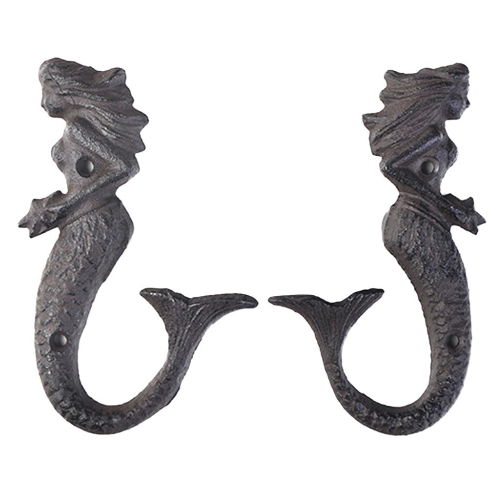 2 Pcs Mermaid Hooks Iron Durable Elegant Bedroom Household Wall Hanging Door Back Hats Hooks Organizer Decor