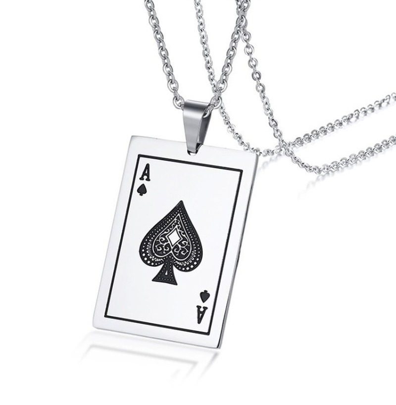 Hip Hop Style Lucky Ace of Spades Poker Pendant Necklace Men's High Quality Metal Rock Party Jewelry