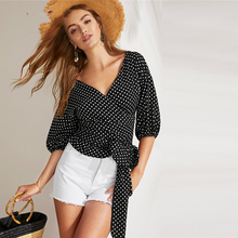 Boho Black Blouse Wrap Polka Top Young Women Spring V Neck Sleeve Top Blouses 2019 недорого