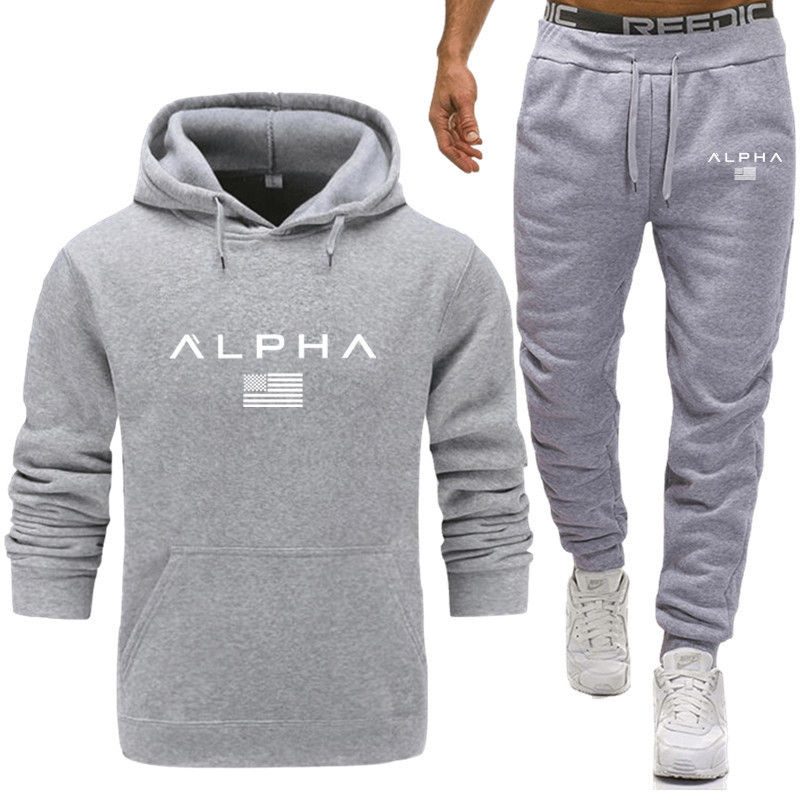 2020 Men's Tracksuit Sportswear Autumn Mens Hoodie Set Spring Fashion Letter Printed Sweatsuit Male M-XXXL