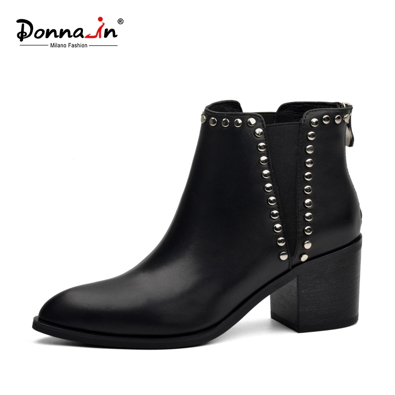 Donna-in 2020 Spring Women Genuine Leather Chelsea Boots Thick High Heels Ankle Booties Fashion Rivet Handmade Ladies Shoes