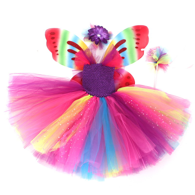 Girls Butterfly Fairy Fancy Tutu Dress Wings Costume Kids Princess Birthday Party Dress Halloween Cosplay Kids Spring Tulle Dress (14)