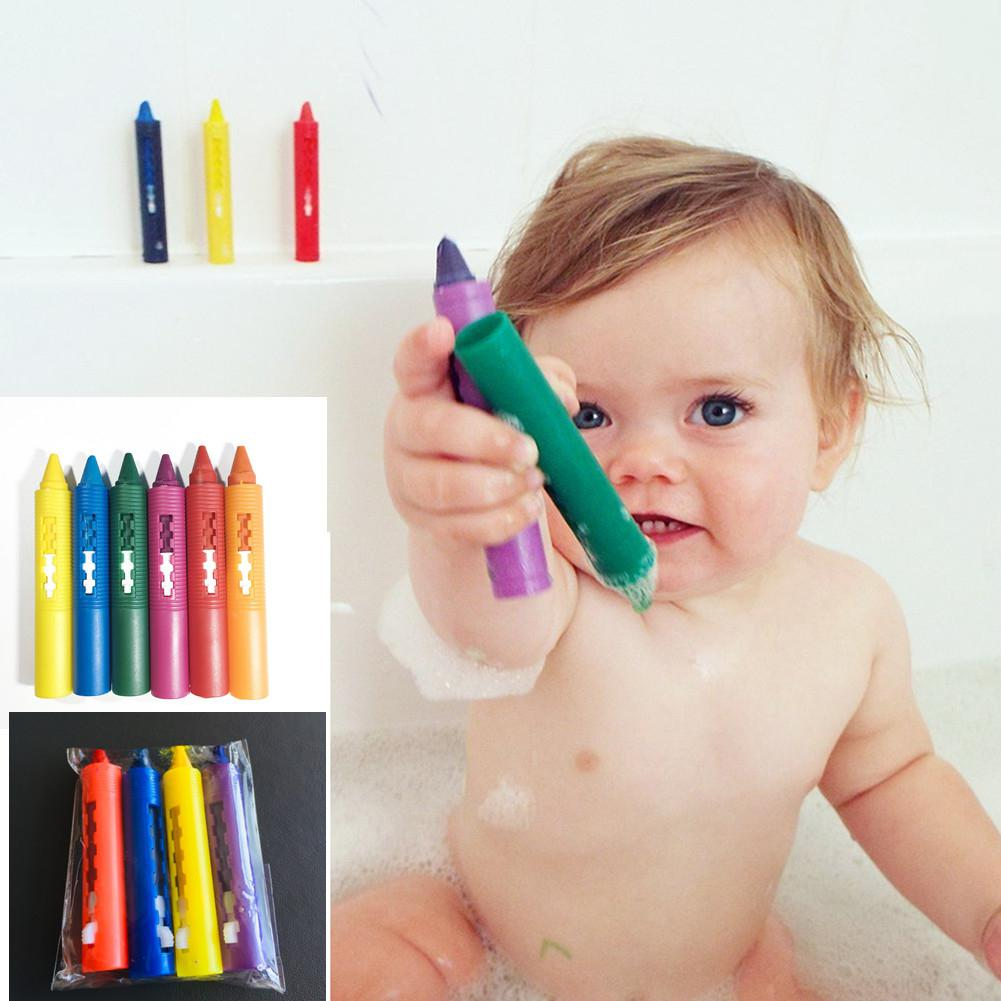 DishyKooker 6Pcs/Set Bathroom Crayon Erasable Graffiti Toy Doodle Pen For Baby Kids Bathing