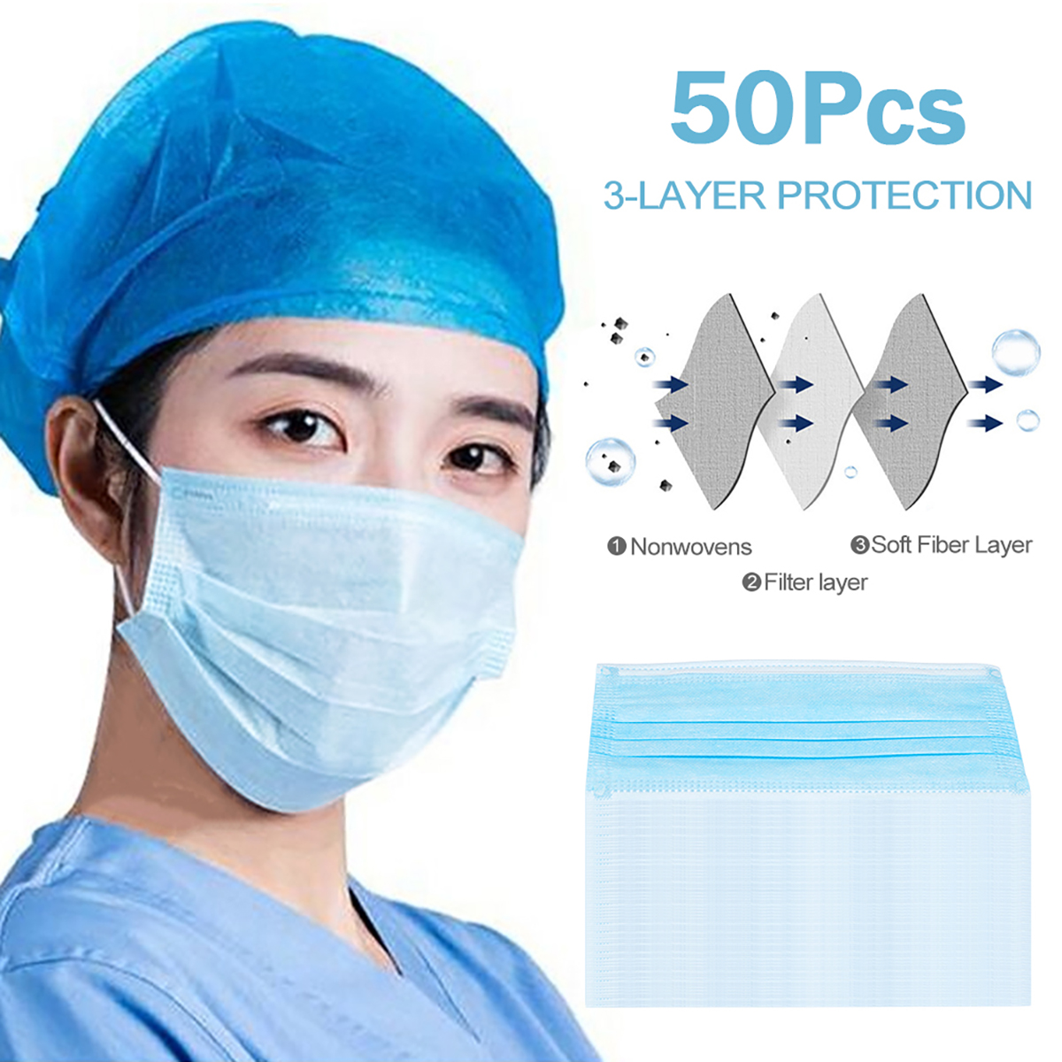 50/20/10pcs Face Masks Anti-Dust Protective Masks Disposable Anti-Pollution 3 Layer Mask Elastic Earloops Non Woven Filter Mask