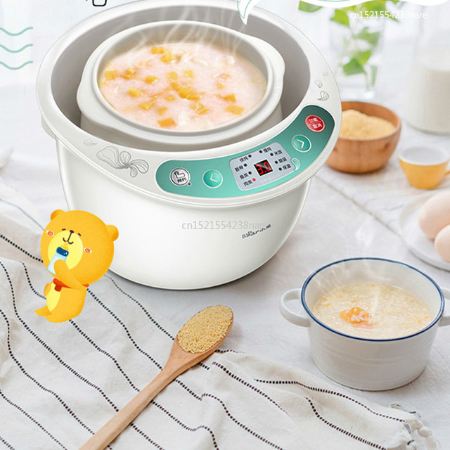 500W IMD Panel  Electric Slow Cooker With 4 Pots Smart Appointment Timing Insulation Electric Stew Pot Anti-Dry Protection 2