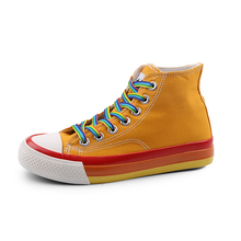 YeddaMavis Shoes Yellow High Top Canvas Women Sneakers New Korean Wild Lace Up Womens Woman Trainers