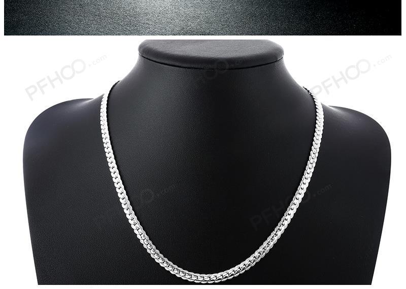 QiLeSen 925 sterling silver fashion men s Fine Jewelry 5mm 20 feet 50 cm silver necklace