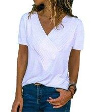 T-shirt manches courtes col en v femme blanc, Streetwear décontracté, résistant, grande taille 5XL, été