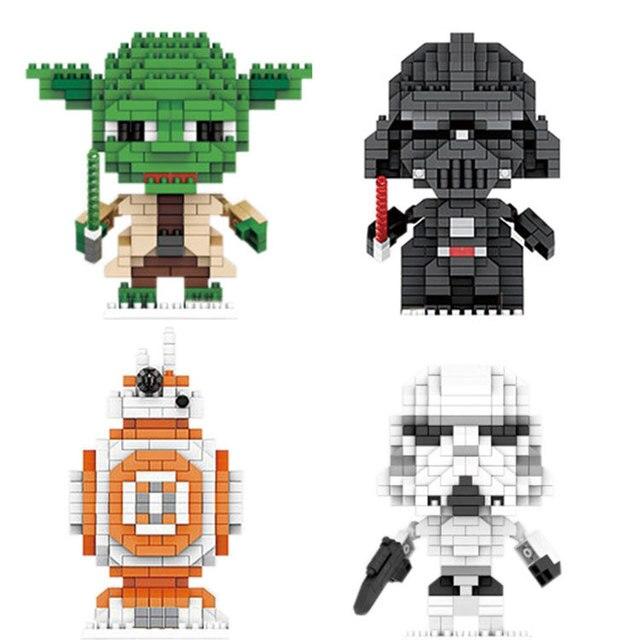 Star Battle Movie Micro Diamond Building Block Master Yoda Darth BB-8 Vader Storm Figures Trooper Space War Nanobricks Toys