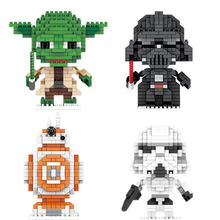 Star battle filme de diamante micro BB-8 storm trooper figuras building block Mestre Yoda Darth Vader guerra espaço nano bricks brinquedos(China)