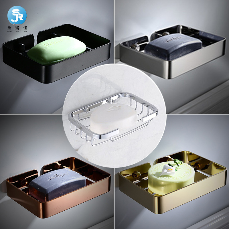 Shengruijia 304 Stainless Steel Hole Punched Storage Shelf Square Light Soap Holder Rust-proof Durable Soap Mesh Soap Dish